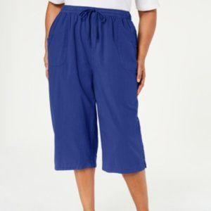 Karen Scott Womens Kiera Casual Wide Leg Pants